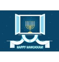 Happy hanukkah postcard design vector