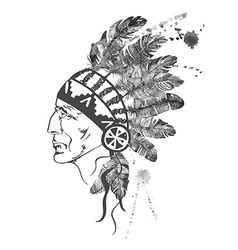 Watercolor native american indian chief vector
