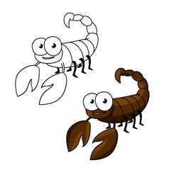 Funny little cartoon brown scorpion vector