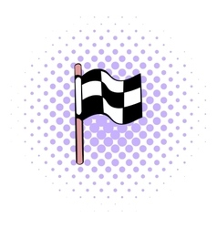 Racing checkered flag icon comics style vector