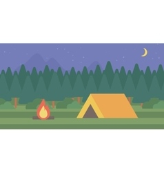 Background of camping site with tent vector