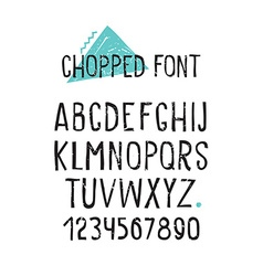 Line simple chopped font universal alphabet with vector