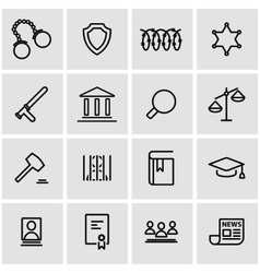 Line justice icon set vector