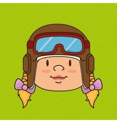 Child with pilot cap design vector
