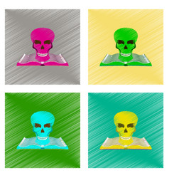 assembly flat shading style icon book skull vector image vector image