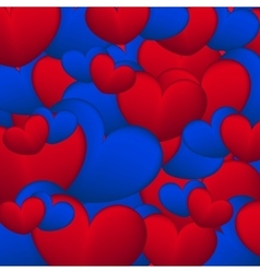 Background of blue and red hearts vector image vector image