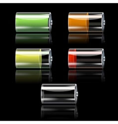 Battery Set With Different Charge Levels vector image