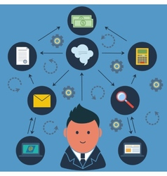 Businessman surrounded business activities icons vector