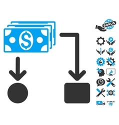 Cashflow Flat Icon With Tools Bonus vector image