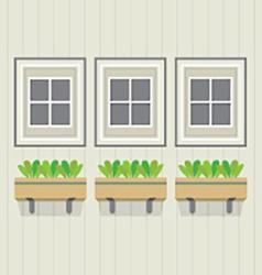 Closed Windows With Pot Plants Below vector image vector image