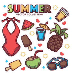 collection of summer tropical objects vector image vector image