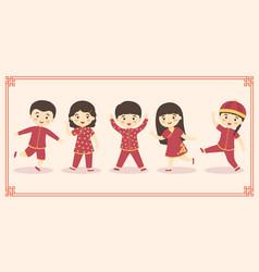 cute chinese kids boy girl costume set vector image