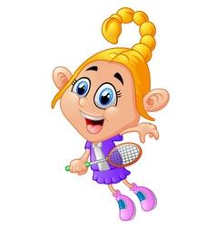 Cute girl playing tennis vector