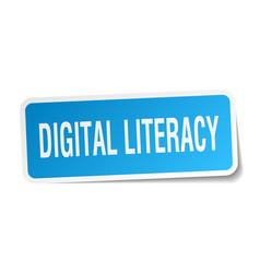 Digital literacy square sticker on white vector