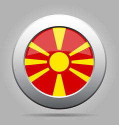 Flag of macedonia shiny metal gray round button vector