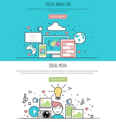 flat line design style of digital marketing and vector image