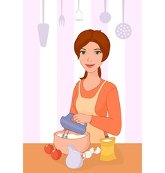 Girl cooking vector