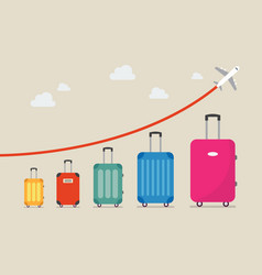 graph increase in the number of tourists traveling vector image vector image