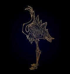 graphic demonic flamingo vector image vector image