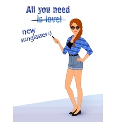 Hipster girl wearing fashionable clothes vector