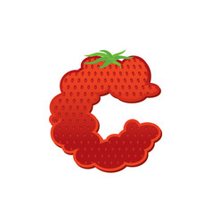 letter c strawberry font red berry lettering vector image vector image