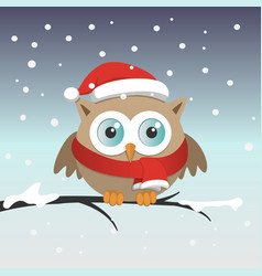 male owl with santa claus hat on a branch in a vector image vector image
