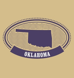 Oklahoma map silhouette - oval stamp of state vector