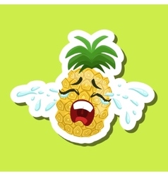Pineapple crying out loud cute emoji sticker on vector