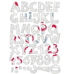 Retro snowflake font set vector image