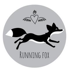 Running red fox vector