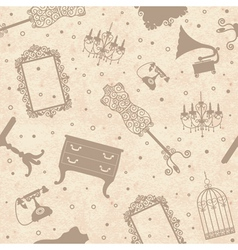 Seamless old cardboard texture with furniture vector image