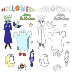 set of cartoon halloween characters and words for vector image vector image