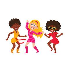 Set of cartoon style retro disco dancers black vector