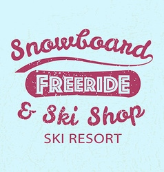 Snowboarding typography icon logotype and badge st vector image