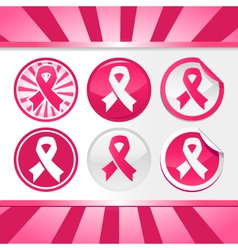 Sticker and buttons with pink awareness ribbons vector