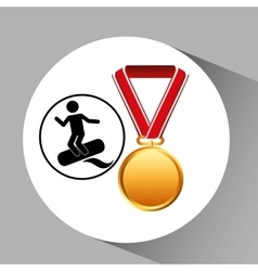 Surfing medal sport extreme graphic vector