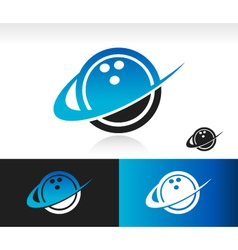 Swoosh bowling ball logo icon vector