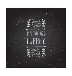 Thanksgiving label with text on chalkboard vector image vector image