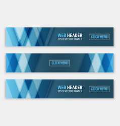Web header set of horizontal abstract banners vector