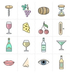 Wine icons set vector image