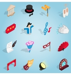 Theatre set icons isometric 3d style vector