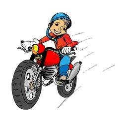 Boy on a motorbik vector image