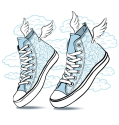 Blue shoes with wings vector