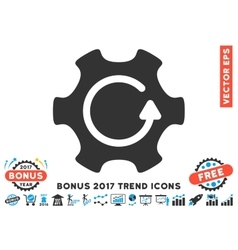Rotate gear flat icon with 2017 bonus trend vector