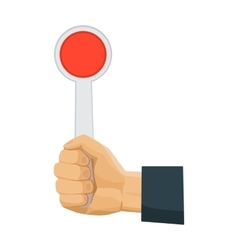 Hand holding stop sign icon in cartoon style vector