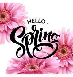 Gerbera flower background and spring lettering vector