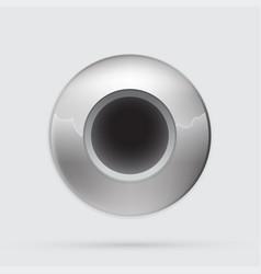 Gray metallic button minimalistic style vector