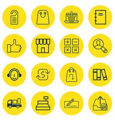 Set of 16 ecommerce icons includes bookshelf vector