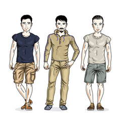 Handsome young men posing in stylish casual vector