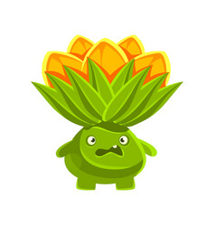 funny vexed cactus with orange flowers on his head vector image